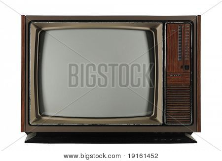 Old Vintage Television isolated on a white background and with Clipping path