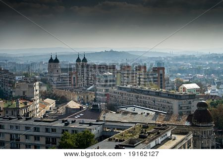 Panoramic view over a european town - Iasi, Romania