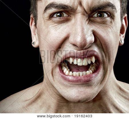 Conceito de stress - careta de raiva furiosa estressado homem