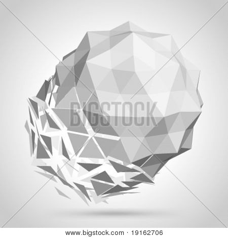 Abstract 3d origami sphere vector background. Eps 10.