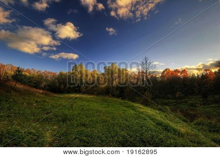Sunshine summer field. It is photographed in Russia. 60 kilometers from Moscow. The end of summer.