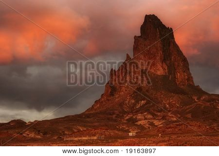 Sunset of Arizona. It is photographed on road in Monuments Valley. The USA. The USA