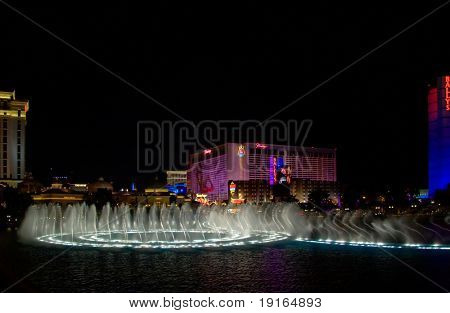 LAS VEGAS - MAY 2:Musical fountains of Bellagio Hotel on Flamingo Casino background, May 2, 2007.