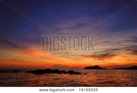 Sunset on the tropical sea. Siam bay. Province Trat. Koh Mak island. Kingdom Thailand