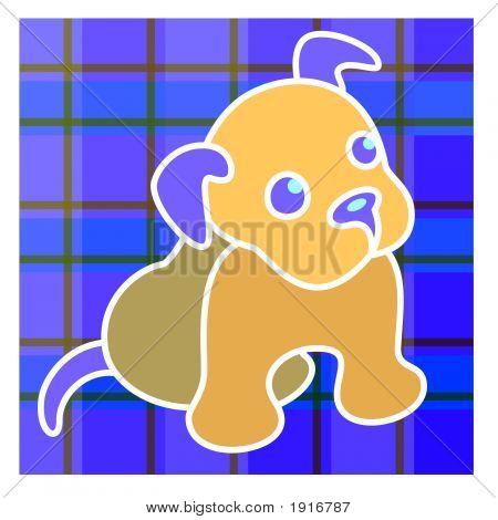 Puppy On Plaid
