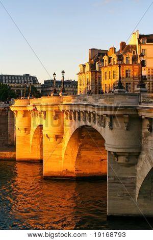 Quay in Paris in sunshine