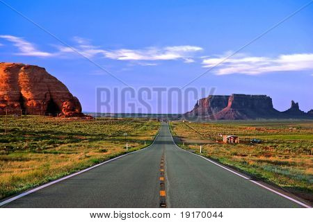 Road in Monument Valley. Arizona. USA