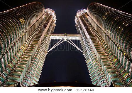 The Petronas Towers at night. Kuala Lumpur city. Malaysia