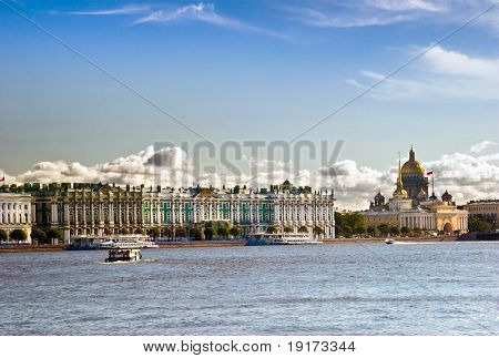 View on tne Neva river and St Isaac's Cathedral. St. Petersburg, Russia