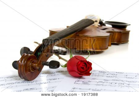 Violin, Rose And Sheet Music