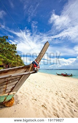Old Thai boats at the beach. Phi Phi island. Thailand