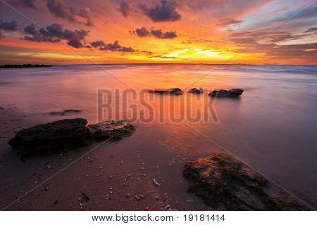 Beautiful sunset at tropical beach. Lanta island. Thailand