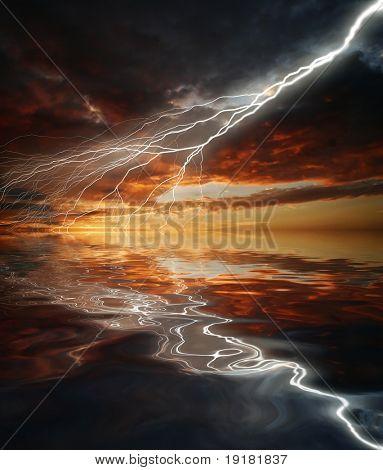 Reflexion der Blitz in das Wasser