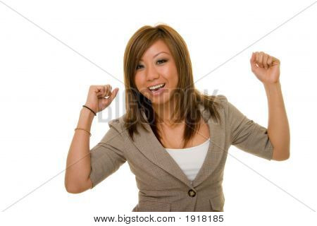 Ecstatic Asian Business Woman