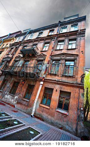 Old house in gloomy weather in St. Petersburg. Russia