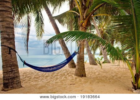 View of nice tropical empty sand beach with some palm and hammock in bad weather. Samui island. Thailand