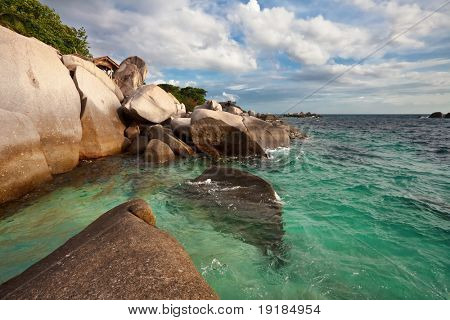 Beautiful tropical beach with big stones. Tao island. Thailand