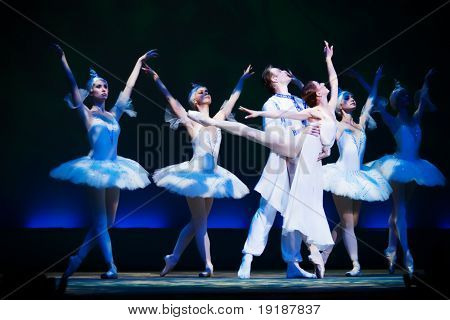 ballet scene with interesting blue lighting