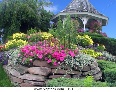 A Gazebo With Flower Landscape