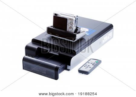 digital camera and printer isolated on white