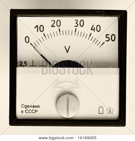 Close-up of an vintage ancient voltmeter