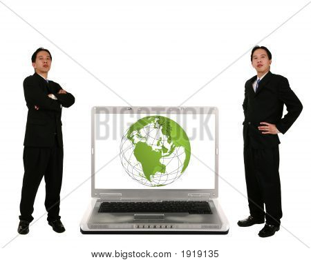Stand Beside Laptop With 3D Globe