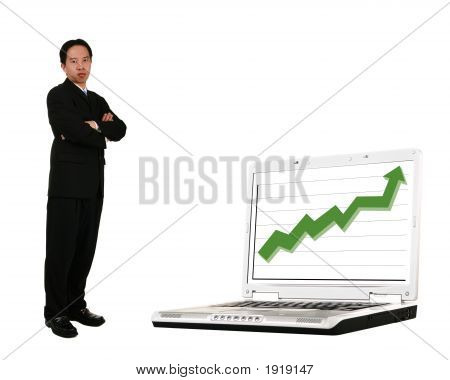 Stand Beside Laptop With Stock Chart