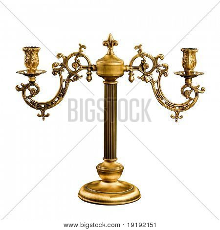 vintage table Candlestick isolated on white
