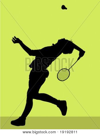 silhouette of badminton player