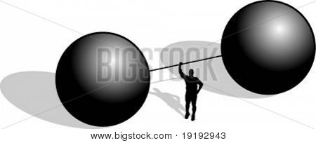silhouette of man lifting barbell