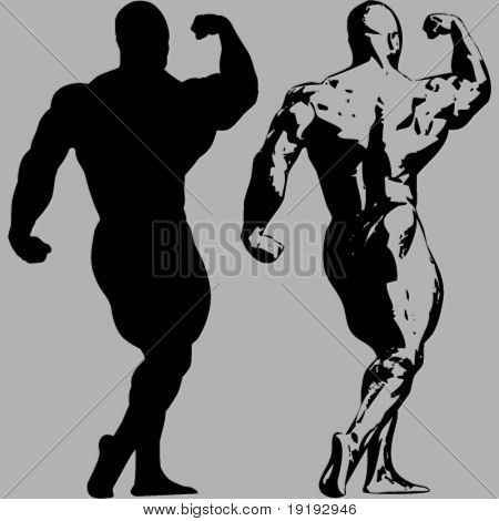 silhouette of muscular man posing