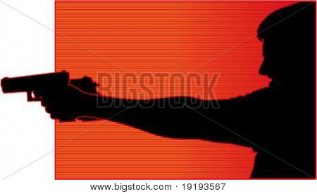 silhouette of man shooting gun