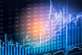 Index Graph Of Stock Market Financial Indicator Analysis On Led. Abstract Stock Market Data Trade Co poster
