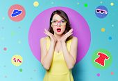 Young Surprised Woman In Glasses poster