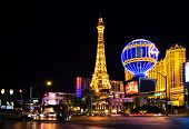 LAS VEGAS - MAY 2:Night View from Strip on the replica of Eiffel Tower at Paris Hotel & Casini on Ma