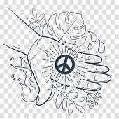 Silhouette Hand With The Symbol Of Peace poster