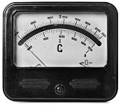 Close-up of an vintage ancient voltmeter