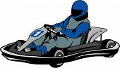 man racing go kart