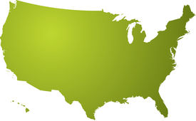stock photo of united states map  - Illustration of a map of the us in different shades of green isolated on a white background - JPG