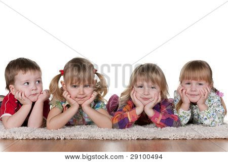 Lonely Little Boy At Three Beautiful Girls