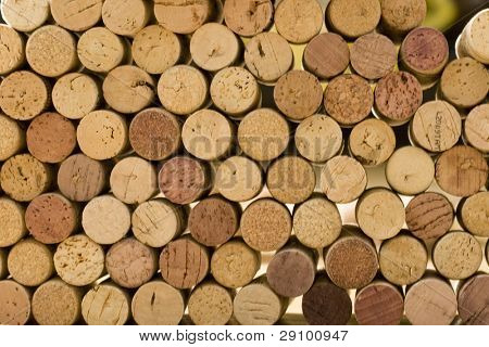 wine corks tops closeup background