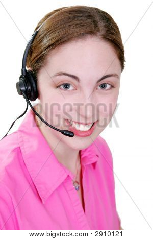 Happy Woman On Telephone Headset