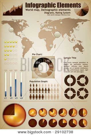 Infographic elements. A wold map with placeholders, demographic elements, charts, diagrams