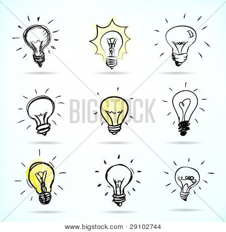 Set of Hand-drawn light bulbs, symbol of ideas