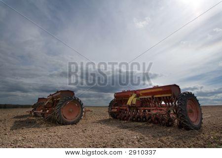 Seeding Machines At Field