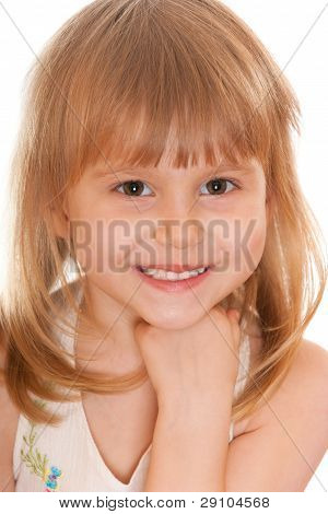 Closeup Cheerful Little Girl