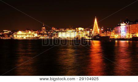 Stockholm skyline at Christmas