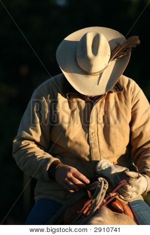 Cowboy In Dawn Light