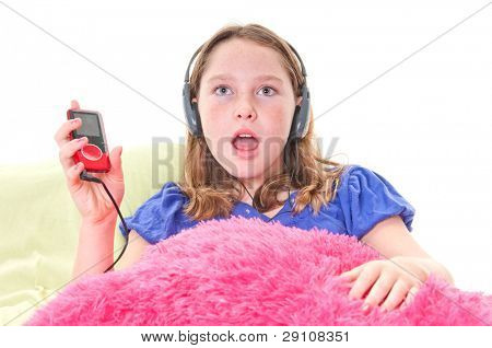 Girl listening to digital music player