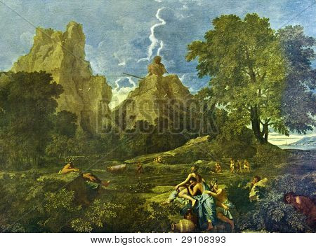 """Nicolas Poussin (1594-1665) """"Heroic landscape."""" Reproduction from illustrated Encyclopedia «Art galleries of Europe», Partnership «M. O. Wolf», St. Petersburg - Moscow, Russia , 1901"""